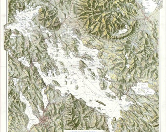 "Lake Winnipesaukee 1979 map - original - 26"" x 27""  138"