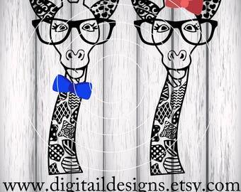 Zentangle Giraffe SVG, dxf, fcm, eps, ai, png cut file for Silhouette, Cricut, Scan N Cut. Doodle Nerdy Giraffe SVG Giraffe cut file
