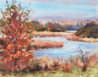 Small Painting, Autumn Painting, Lake Painting, Barrington Illinois, Original paintings, Oil on Canvas, Small oil Painting Sue Whitney 8x10