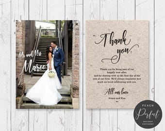 Wedding Thank Your Card, Free Colour Changes, White or Kraft look background, Your wording, Professionally Printed - Peach Perfect Australia