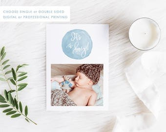 Digital Birth Announcement Card, Printable Baby Thank You, Baby Boy Card, Photo Announcement, Free Colour Changes, Multiple Photos, 01BOY