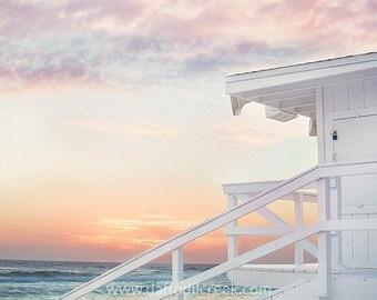 Beach Photo, Beach Wall Art, Beach Decor, Life Guard Tower, Bathroom Wall Art, Living Room Wall Art, Pastel Beach at Sunset, Bathroom Decor