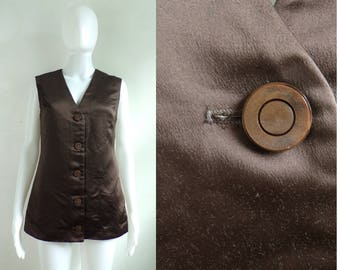 70s brown sateen vest shiny handmade vest 1970s minimalist waistcoat button down vest womens medium