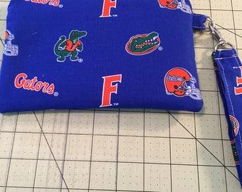UF Gators Wristlet, zipper pouch, makeup bag, ready to ship