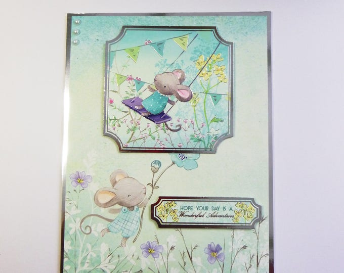 Birthday Card, Greeting Card, Mice Playing, Any Age, Male or Female, Number Can Be Added, Daughter, Sister, Son, Brother, Niece, Nephew