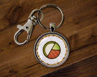 Sushi Glass Keychain - Sushi Roll, Nigiri, Maki Roll, Salmon Roll, Tuna Nigiri, California Roll, Keyring, Key Holder, Keychain