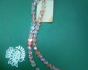 Czech firepolish beads pink mix