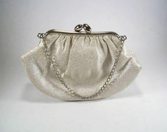 Vintage 1950s or 1960s Sparkly Silver Small Clutch | Purse | Handbag | Pocketbook | Evening Bag