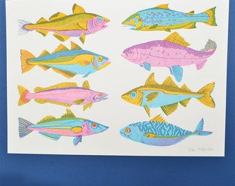 Scottish Fish Riso Print - risograph print, fish, mackeral, trout, salmon