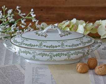 Antique oval covered vegetable Tureen in Green and Gold by Wood and Sons Ltd England