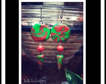 Polymer clay earrings dangly