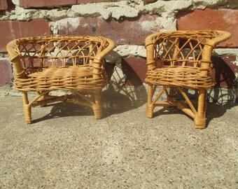 vintage wicker doll furniture, wicker doll chair, doll loveseat, natural wicker, doll chair, doll couch, doll living room, wicker decor