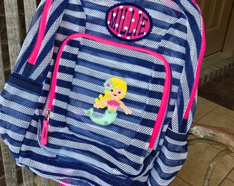 Monogrammed Backpack | Mermaid | Mermaid Backpack | Girls Backpack | Mesh Backpack | Monogrammed Mesh Backpack | Mermaid Bookbag