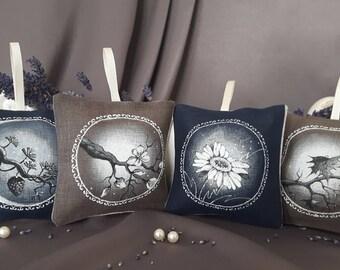 Hand painted linen sachets, 4 seasons (organic dried levander inside)