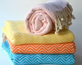 CHEVRON TURKISH TOWEL - Organic Cotton, Pure Soft Cotton, Peshtemal, Baby Blanket, Turkish Blanket,  Turkish Beach Towel, Turkish Bath Towel