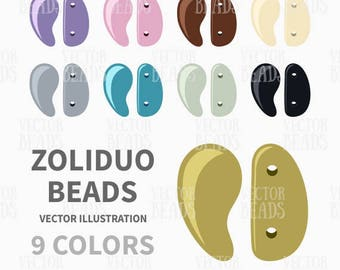 Two-hole Zoliduo Beads Vector Graphics for Beading Diagrams