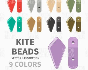 Two-Hole Kite Beads Vector Clipart Set - ai, eps, pdf, png