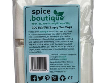 spice.boutique - 200 Self Fill Empty Teabags, Drawstring, Disposable, For all Loose Leaf, Fruit,Herbal, Green Teas, FREE Post UK and Europe
