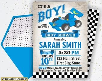 Race Car Baby Shower Invitation / Digital Printable Invite / DIY Party / Blue / Teal /  Gray / Vintage / It's a Boy / cars / BSCar1