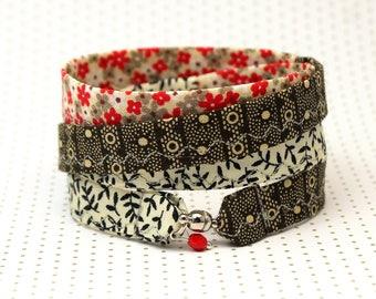bracelet to wrap handmade fabric cotton gipsy hippie green