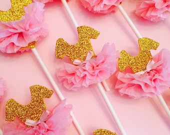 Tutu Cupcake Toppers, Pink and Gold, Princess Party, Ballerina Party