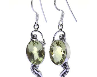 Lemon Quartz Earrings, 925 Sterling Silver, Unique only 1 piece available! color yellow, weight 7g, #38453