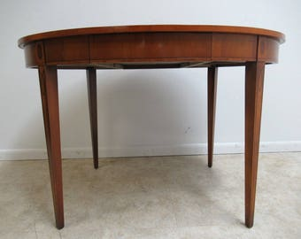 French Satin Wood Inlaid Oval Game Table Writing Desk