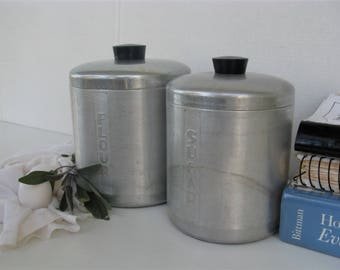Aluminum Kitchen Canisters With Black Plastic Knobs, Flour And Sugar Set,  Rustic Farmhouse,