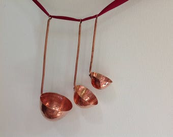 Vintage Hammered Copper Ladles, Spoons, Dippers Set of 3
