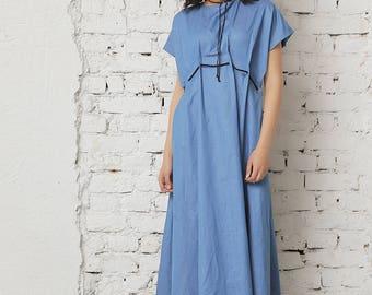 Denim Dress, Women Blue Dress, Maxi Kaftan, Oversized Dress, Casual Dress, Short Sleeved Dress, Minimalist Dress, Summer Dress, Street Wear