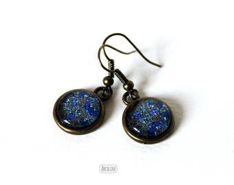 Earrings cabochons Glas 12mm Liberty ° ° ° Blue