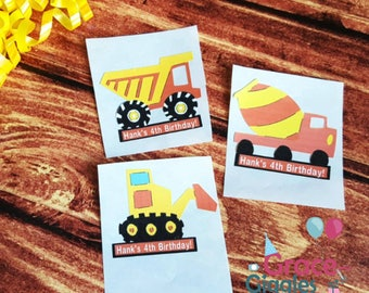 12(2in) Personalized Construction Themed Favor Stickers/ Adhesive Party Tags