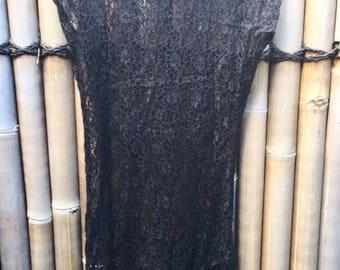 Black Vintage Lace High Neck Sheer Dress