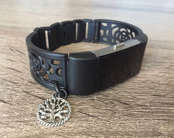 Gunmetal Color Bracelet for Fitbit Charge 2 Fitness Activity Tracker Silver Tree of Life Handmade Black Matte Color Fitbit Charge 2 Band