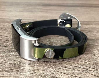 Army Color Vegan Leather Bracelet for Fitbit Charge 2 Fitness Tracker Handmade Camouflage Multi Wrap Adjustable Fitbit Charge 2 Band