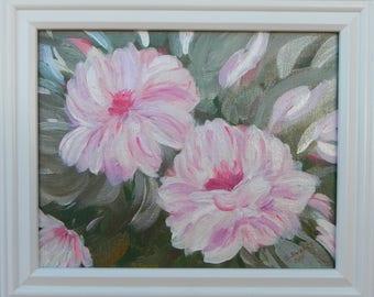 Original art,framed acrylic painting on canvas,Still Life Peonies by Susan Swan