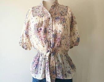 Vintage 1970s floral sheer blouse