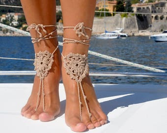 Soleless Sandals, Beach Sandals, Accessory, Soleless Beach Shoes, Boating, Foot Jewelry, Gift for Her, Beige Feet Jewelry, Boho Sandals