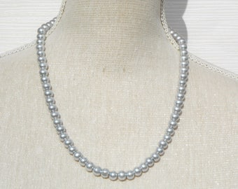 Grey necklace, grey pearl, grey weddings, grey bridesmaid, grey gift, grey pearl necklace, bridesmaid gift, birthday gift, Christmas gift