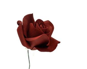 Small Burgundy Rose Sugar Flower Wedding Cake Topper