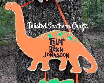 Dinosaur Baby Boy Wooden Hospital Door Hanger / Dinosaur / Birth Announcement / Dino / Custom & Dinosaur door hanger | Etsy Pezcame.Com