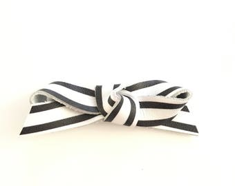 Striped leather ballet bow
