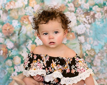 RTS off the shoulder 9-12 moths sitter romper, ruffled romper, baby romper photography prop