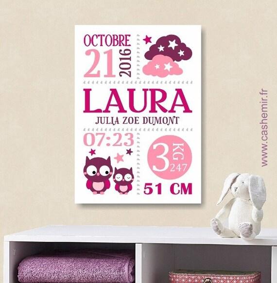 cadeau de naissance fille personnalis affiche de naissance. Black Bedroom Furniture Sets. Home Design Ideas