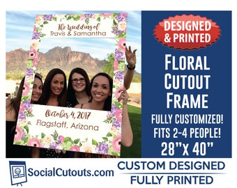 Floral Selfie Frame Fully Customized and Printed Photo Booth Floral Photo prop Bridal Shower Photo Frame Wedding Photo Prop Frame Cutout