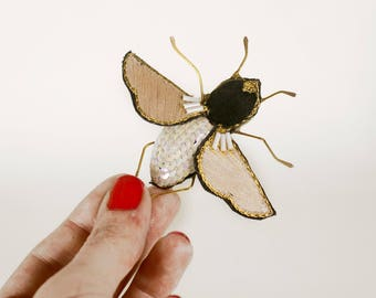 large brooch in volume, butterfly, embroidered by hand, insect brooch