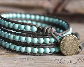Gemstone Beaded Wrap Bracelet, Wrap Bracelet, Leather Wrap Bracelet, Boho Wrap Bracelet, Triple Wrap Bracelet, Gemstone Wrap Bracelet
