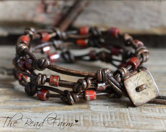 Beaded Leather Bracelet, Knotted Leather Wrap Bracelet, Knotted Leather Bracelet, Leather Wrap Bracelet, Wrap Bracelet, Beaded bracelet