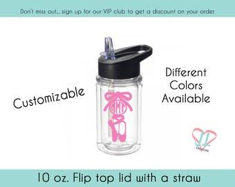 Monogram Ballet Water Bottle - 10 oz - Gift for Ballerina