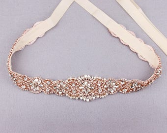 Bridal Sash Belt Rose Gold Wedding Bridesmaid Crystal Rhinestone Pearl